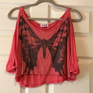 Butterfly Crop Top with Open Sleeves (Pink/orange)